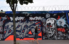 Sarah Connor ? (HBA_JIJO) Tags: streetart urban graffiti paris france hbajijo wall mur painting letters peinture humour lettres street writer people humor robot craze rue scene view terminator