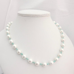White pearl necklace with aqua quartzite accents: pearl necklace; bridal necklace; wedding jewellery; elegant jewellery; bridal jewellery (toriastrinkets) Tags: etsyaaa craftbuzz etsymntt pearl white bridal wedding quartzite aqua elegant silver