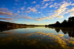 Morning Glory, Gracious Skies. (SaltyDogPhoto) Tags: lake baldeaglestatepark water reflection sky clouds sunrise morning autumn fall october centrecounty pa pennsylvania fosterjosephsayerslake calm beautiful beauty explore exploring nature landscape view lightroom horizon horizontal nikon nikond7200 nikonphotography nikkor nikkor1680mmf284eedvr saltydogphoto