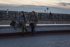 Young artist at the Kazan Kremlin (Oleg.A) Tags: autumn sunset street twilight city kazan russia evening tatarstan oldtown town  respublikatatarstan ru