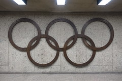 Olympic Rings @ Pie IX Metro station @ Montral (*_*) Tags: montreal mtl canada quebec northamerica 2016 autumn fall automne october city sunny hochelaga maisonneuve afternoon olympic stadium stade olympique