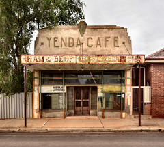 Yenda Cafe (phunnyfotos) Tags: old shop architecture facade cafe nikon closed pavement decay australia sidewalk veranda nsw newsouthwales artdeco verandah deco footpath decayed shopfront riverina bushells yenda d5100 nikond5100 phunnyfotos yendacafe