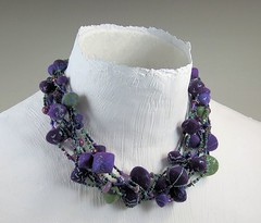 Wet Felted Beads on multi-strand beaded necklace (bjmaiee) Tags: necklace beads ebsq jewelry textile fiber afc harlan seedbeads wetfelting multistrand tafa beadsoup wetfeltedbeads needlefeltingtothepoint craftartedu