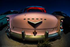 In the Pink (dejavue.us) Tags: california longexposure nightphotography lightpainting abandoned car nikon automobile desert fullmoon fisheye junkyard 1956 nikkor desoto mojavedesert d800 105mmf28 vle