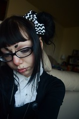 Wishful Thinking (karmakerosene) Tags: portrait selfportrait cute girl model nikon gothic goth makeup lolita piercings gothiclolita glases d7000 nikond7000