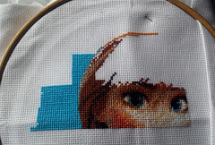Frozen Cross Stitch - Blue Build Up and Anna's Hair Progres (diedintragedy) Tags: anna art olaf frozen crossstitch cross stitch sewing crafts progress stitching sven elsa kristoff crossstitcher artprogress projectprogress arendelle frozencrossstitch crossstitchproject crossstitchprogress