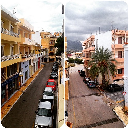 #neighborhood @ #siteia #crete!! 🏡🏠 #noon & #streets are empty!! So #quite!! 😌😌// #instacollage #city #road #street #town #car #cars #clouds #sky #picture #photo #iphoneography