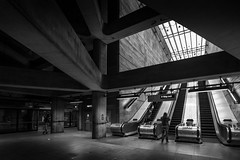 Straight Up The Middle (TS446Photo) Tags: england white holiday black london classic station architecture stairs train underground nikon df europe britain jubilee escalator transport tube pillar icon line beam iconic tfl lul vulturelabs ts446