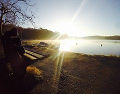 Frosty seat with a view at Sunny Corner (Tucksy81) Tags: winter sun 3 cold water bench boats frost cornwall kayak view scenic sunny frosty hero iphone kernow 5s malpas gopro sunnycorner herolack