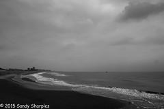 Winter Beach (Sandy Sharples) Tags: winter sea sky blackandwhite bw beach water monochrome canon mono march sand belgium north oostende ostend