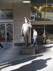 Ralph Kramden on a Sunny Day 3597 (Brechtbug) Tags: new york city winter holiday cold bus weather statue bronze port lunch is jackie uniform day authority january tie sunny front terminal an midtown his while chilly jolly gleason ralph stands drivers straightening pail clutching clad manhattans honeymooners 2015 kramden eightfoottall kramdon 01082015
