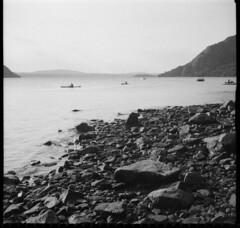 hudson (evgenia.sizanyuk) Tags: blackandwhite mountain film beach nature stone mediumformat river kayak hudsonriver hudson blackandwhitefilm iskra