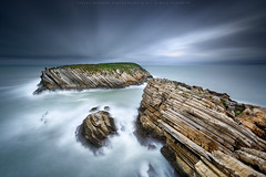 The islet of the Doves (CResende) Tags: longexposure seascape storm motion color portugal lines clouds speed rocks le strong islet baleal peniche cresende