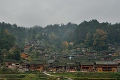 Village in the morning cool (RomImage) Tags: china wood old autumn sky fall misty fog forest wooden ancient nikon asia mood village paddy remote guizhou ricefield ethnic isolated d800 oldvillage remotearea atmophere ethnies