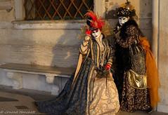 Venice Carnival 2014 in golden light (conrad_hanchett) Tags: venice italy couple brightcolours goldenlight venicecarnival2014