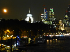 St Paul's Cathedral and the Moon, from Waterloo Bridge (P1110072) (alg24) Tags: uk england moon building london church thames skyline night buildings river flickr cathedral stpauls churches cathedrals rivers citylights stpaulscathedral northbankofthethames