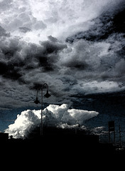 Inky sky (Paul Threlfall) Tags: summer sky clouds photoshop thunderstorm processed cumulonimbus