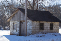 Stone Building (marylea) Tags: winter snow rural michigan farm stonework feb28 stonebuilding 2015 washtenawcounty southeasternmichigan