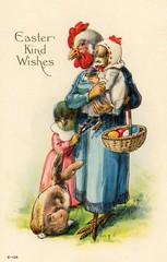 Kind Easter Wishes from the Chicken People (Alan Mays) Tags: old blue red green bunnies chickens strange birds animals vintage paper easter children cards typography gold clothing women funny holidays humorous comic antique humor surreal illustrations ephemera mothers clothes dresses poultry baskets postcards type eggs chicks greetings unusual rabbits fonts printed embossed anthropomorphism typefaces anthropomorphic combs greetingcards beaks postcardseries eastercards e105 seriese105