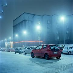 Katowice, Poland. (wojszyca) Tags: city longexposure urban 6x6 tlr night mediumformat fuji mat 124g epson tungsten fujichrome katowice yashica rtp 4990 t64