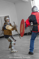 [2015-02-22@14.59.53a] (Untempered Photography) Tags: training fight helmet medieval teen sword shield armour reenactment selectivecolour canonef24105mmf4lisusm platearmour gambeson barbute untemperedeye canoneos5dmkiii kernowlevy otterhamandstjuliothall untemperedeyephotography