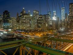 Brooklyn Bridge & Lower Manhattan (Anthony's Olympus Adventures) Tags: newyorkcity nyc usa america thebigapple manhattan lower city cityscape skyscraper bridge road cityview manhattanviews brooklynbridge nighttime scene longexposure flickraward geotagged