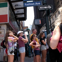 In Line (Photographs By Wade) Tags: newyorkcity girls people newyork men women manhattan guys tourists sidewalk crosswalk onewaysign