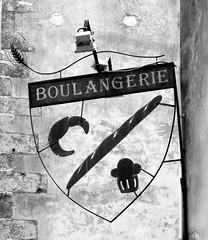 boulangerie (Mr Ian Lamb) Tags: blackandwhite monochrome sign french wheat baguette croissant brioche boulangerie shopsign bakers tradesign