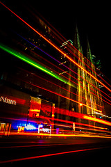 Spirits on 5th (duncan_mclean) Tags: night neon 5thavenue church newyork newyorkcity glow le longexposure nightphotography headlights taillights light st patricks saint
