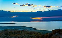 lakeside (sahib josh) Tags: sunset sky lake water rock salt lakeside antelopeisland