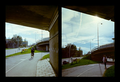 2016-04--05 - Olympus Pen EE - Kodak Ektar 100-07 (sarajoelsson) Tags: city urban color film analog pen spring diptych sweden stockholm snapshot olympus ishootfilm analogue halfframe everydaylife filmgrain vardag 2016 filmphotography penee filmisnotdead halvformat diptyk teamframkallning digitizedwithdslr