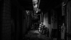 Backstreets of Macau (outvizion) Tags: macau backstreets streets bw blackandwhite lights shadows emptyness