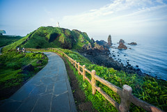 Lead Me (edrichhans) Tags: jeju korea lighthouse cliff road grass green sea ocean shore rails