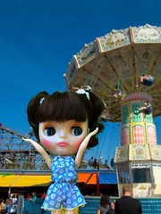 """""""TOO BIG!!""""  Cheri's overwhelmed at our local summer fair with the old wooden roller coaster and high merry go round. Good thing there are little kid rides, mini donuts and cotton candy! Yum. Barbie romper."""