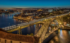 Porto by night (aurlien.leroch) Tags: europe portugal porto night sunset hdr lusibridge douroriver cityscape longexposure bridge pont eiffel gold