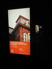 Metropolitan Museum of Art Sidewalk Billboard Ads 5026 (Brechtbug) Tags: metropolitan museum art roof garden new york city outdoor exhibit 2016 season british artist cornelia parker work named transitional object psychobarn replica bates house alfred hitchcocks 1960 horror film psycho inspired by edward hopper 1925 painting railroad covered reclaimed wood which comes from an actual barn nyc 09102016 addams family mansion charles chas halloween central park skyline spooky spook top