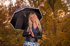 Paulina (Tom Pastorek) Tags: autumn woman fall girl beauty leaves umbrella prague portait czechrepublic hlavnmstopraha