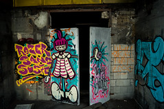 Graffiti (Chris Cologne Photography) Tags: door old roof industry colors photoshop germany lost deutschland graffiti hall big factory colours place sony fabrik ruin cologne köln ruine adobe elements industrie tür wrecked cameraraw lostplace alpha37