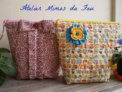 Nécessaires Onçinha e Corujitas (Atelier Mimos da Fau) Tags: quilt fuxico patchwork contas nécessaires flordecrochet