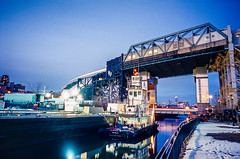 Tug on the Gowanus Canal, Night Scene (Raphe Evanoff) Tags: street leica nyc sunset urban film water brooklyn boat streetphotography bluehour ektachrome magichour