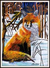 Fuchs im winterlichen Maisfeld (LOMO56) Tags: fuchs gemälde realismus acrylbilder tiergemälde realistekunst victoriawilsonschultzgemälde victoriawilsonschultzkopien