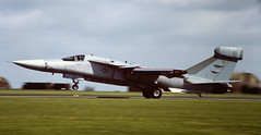 US Air Force EF-111 Raven at RAF Upper Heyford in the 1980's (baldychops) Tags: film 35mm flying aircraft aviation military flight slide aeroplane scan 80s airforce slides raven 1980s usaf raf usairforce airfield ef111 upperheyford rafupperheyford