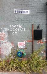Raaka Chocolate Co. (UrbanphotoZ) Tags: nyc newyorkcity red ny newyork brick grass wall brooklyn mailbox weeds chocolate gray pipe sidewalk redhook standpipe siameseconnection raaka raakachocolate seabringst