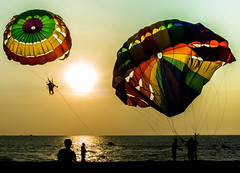 Not for the faint hearted (X-Bromy) Tags: sunset sea beach sport seaside extreme malaysia langkawi activity parasailing parachute