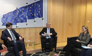 Federica Mogherini and President Juncker meets Prime Minister Davutoglu