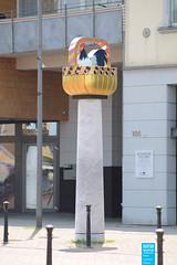 Heinrich Brummack - Hahn im Korb - 2002 (NRWskulptur) Tags: sculpture skulptur nrw publicart nordrheinwestfalen rheinland kunstimöffentlichenraum northrhinewestphalia heinrichbrummack rheinerftkreis brummack