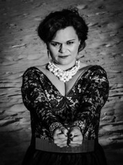 Strong Woman (Aldo Guerrero) Tags: blackandwhite blancoynegro blackwhite necklace sand dress bdsm pearls strong bracelets handcuffs physicist strongwoman womanseason hairstylecollected scientificphysicalwoman