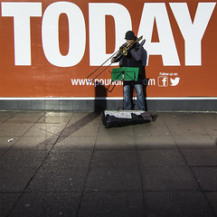 TODAY (The Image Den) Tags: musician sign square trombone shopwindow busker today brass abovebar poundland