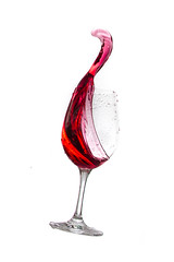 Splashed! - Poking Out (Domiriel) Tags: white wet water glass mess wine flash whitebackground colored splash coloured liquid foodcoloring splashing speedlite canoneos7d canon7d