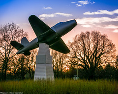 Whittle Memorial (Wayne Cappleman (Haywain)) Tags: uk blue trees sunset fab orange colour green frank photography memorial cove aircraft wayne jet hampshire sir farnborough whittle gloster haywain eglf cappleman